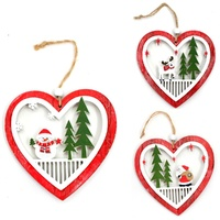 3x Christmas Wooden 3D Heart Hanging Tree Ornament Door Hanger Decoration 12cm