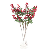 4x 65cm Christmas Red Berry Holly Leaves Branch Artificial Flower Pick Wreath R