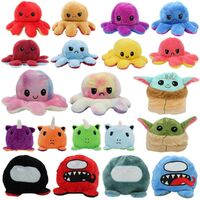 Double-Sided Flip Reversible Emotions Animal Plush Stuffed Sensory Fidget Toy