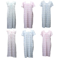 Women's 100% Cotton Summer Short Sleeve Nightie Night Gown Pajamas Sleepwear