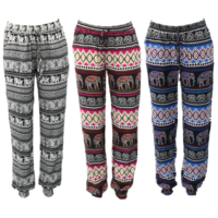 Women's Harem Pants Long Comfy Loose Boho Slim Cuff Trousers Elephant Print