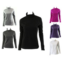 Women's Cotton Skivvy Turtleneck Long Sleeve Top High Neck Basic Plain Core