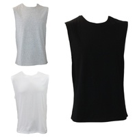 Men's Tank Top Muscle Gym Sleeveless T Shirt Singlet Vest Basic 100% Cotton