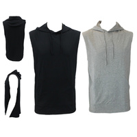 Men's Sleeveless Hoodie Top w Pockets Hooded Gym Muscle Top Vest Hoody Cotton