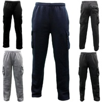 Men's Cargo Fleece Track Pants Low Pill Casual Jogging Sports Trackies