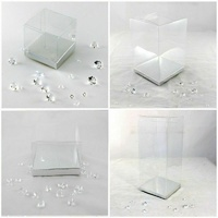 20 CLEAR PVC Boxes w Base 14 SIZES Wedding Party Bomboniere Candy Favor Favour