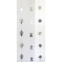 Christmas Hanging Garland Bunting Drop Silver Metal w Beads XMAS Decoration 1.6M