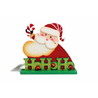 Christmas Xmas Standing Plaque w Bell Decor Decoration - Santa HoHoHo