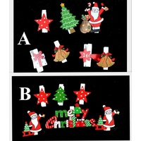 6-7x Christmas Wooden Clips Pegs Xmas Tree Star Card Holder Decoration Craft