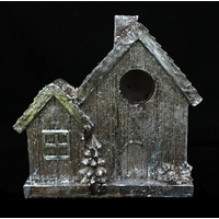 Christmas Xmas Silver House in Winter Figurine Table Shelf Home Decoration 17CM