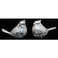 Set of 2 Christmas Xmas Silver Birds Figurine Table Shelf Decoration 12/15CM
