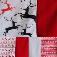 2x Christmas Xmas Kitchen Tea Towels Tree Reindeer Red White