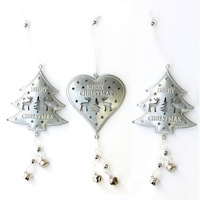 3x Silver Metal 3D Christmas Tree Ornament w Bells Reindeer Hanging Xmas Décor