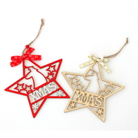 4x Christmas Wooden Tree Ornament Star XMAS Hanging Window Wall Decoration 18cm