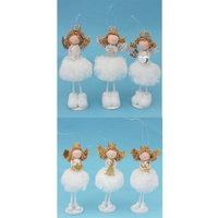 3x Christmas Xmas Angels Standing Fairy Gold Silver Tree Hanging Ornament Decor