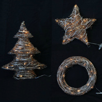 Large Light Up Christmas Decoration Rattan Wire Star Tree Wreath Xmas Decor 48cm