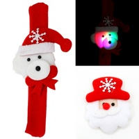 Christmas LED Flashing Light Up Badge Brooch Pin /Slap Wrist Band Xmas Party