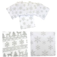 6x Christmas Drink Coasters Square White Silver Glitter Snowflake Table Decor