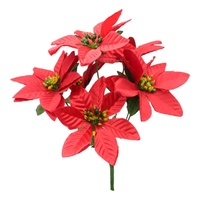 4x Bunches 7 Head Red Christmas Poinsettia Bush Artificial Flowers Plant Decor B