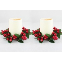 2x Christmas Red Berry Candle Holder Table Centrepiece Decoration Mini Wreath