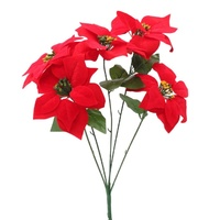3x Bunches Large Red Christmas Poinsettia Bush Artificial Flowers Plant 50cm
