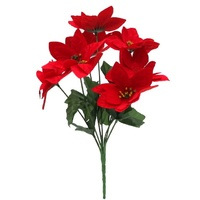 4x Bunches Red Christmas Poinsettia Bush Artificial Flowers Plant Table Decor