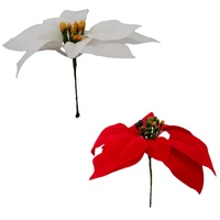 6x Christmas Poinsettia Flower on Stem Artificial Floral Wreath Decoration Décor