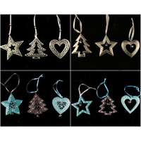 3x Christmas Tree Hanging Ornament Decoration Metal Gold Blue w Bells Xmas Décor