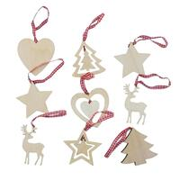 27pcs Christmas Wooden Ornaments Natural Wood Blanks Ribbon Reindeer Tree Décor