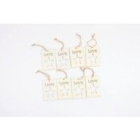 8x Christmas Rustic Wood Love Star Ornament DIY Decor Hanger Gift Tags