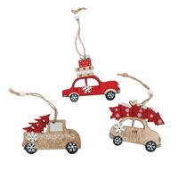 Set of 6 Christmas Wooden Tree Ornaments Car Xmas Hanging Decoration