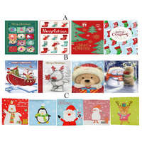12pcs Bulk Pack Christmas Xmas Greeting Cards & Envelopes 10x10cm w Glitter Kids