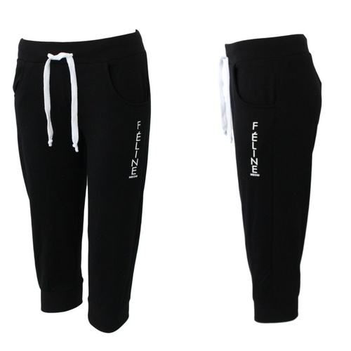 NEW Women's Ladies 3/4 Soft Gym Sports Track Pants Shorts Trackies - FÉLINE [Size: 8] [Colour: Black]