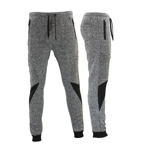 FIL Men's Skinny Jogger Gym Track Pants Zip Pockets Cuff Marle Sweat Pants [Size: S] [Colour: Light Grey]