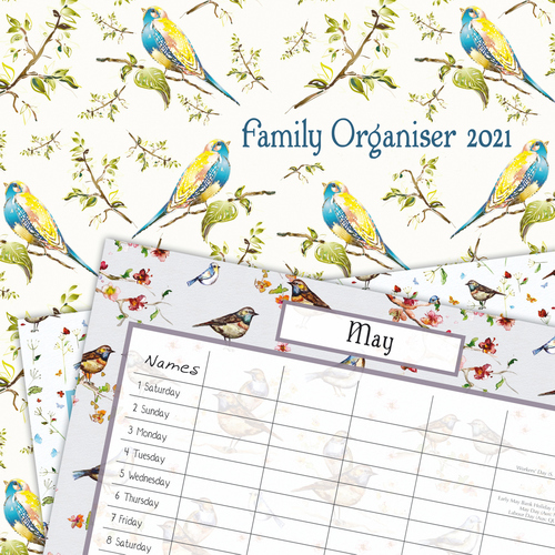 Birdsong Family Organiser - 2021 Square Wall Calendar by Gifted Stationery (N)
