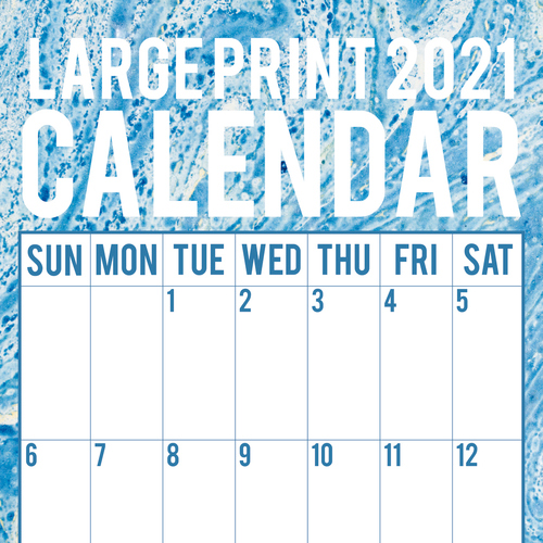 Large Print Calendar - 2021 Square Wall Calendar by Gifted Stationery (0)