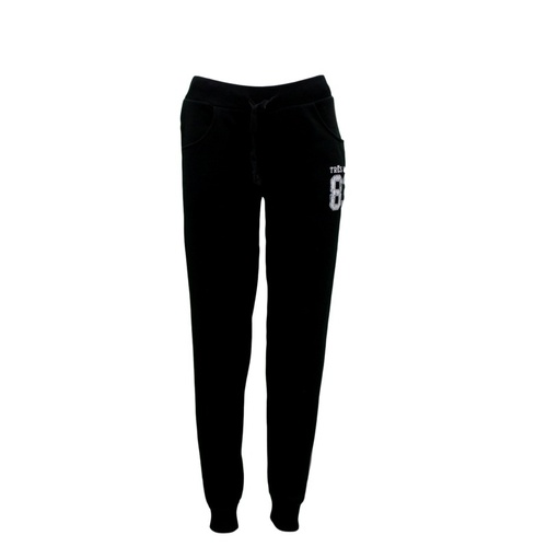 NEW Women's Ladies Soft Fleece Track Pants Trackies Casual Sports - TRES COOL 83 [Size: 8] [Colour: Black w White Print]