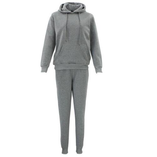 Women's Tracksuit 2-piece Set Hoodies Pullover Jogger Track Pants Sweatshirt [Colour: Light Grey] [Size: 10 ]