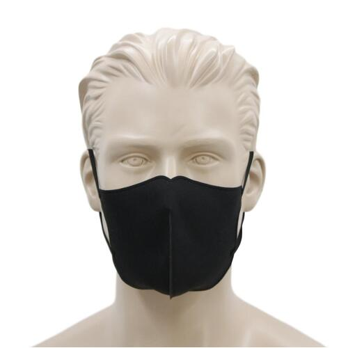 [Black B] Adult Reusable Cloth Face Mask Cotton 3 Layers 3D Shaped Fabric Washable