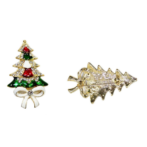 Christmas Brooch Pin w Rhinstone Diamante Xmas Santa Tree Bells Reindeer Sled [Design: Xmas Tree w/ Bow]
