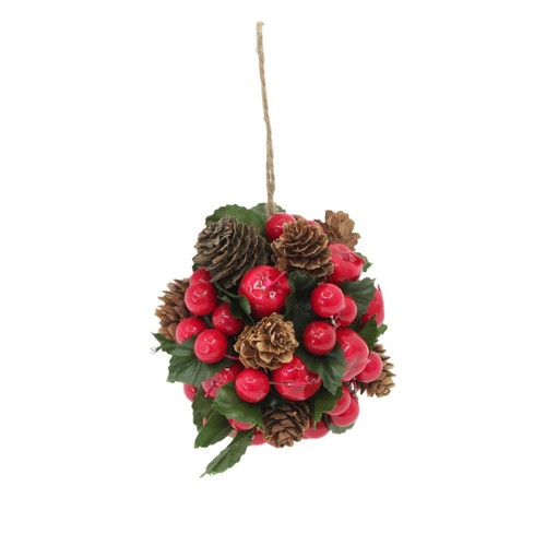 2x Christmas Xmas Ball Red Natural Berry Pine Cone Leaves Hanging Decor
