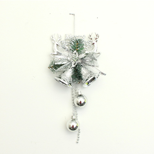 2x Christmas XMAS Sml Jingle Bells Door Wall Hanger Decoration w Pine Reindeers [Colour: Silver]
