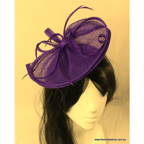 Wedding Races Bridal Party Hair Fascinator/Hat w/ Feathers - S4 - Red Purple  [Colour: Purple ]