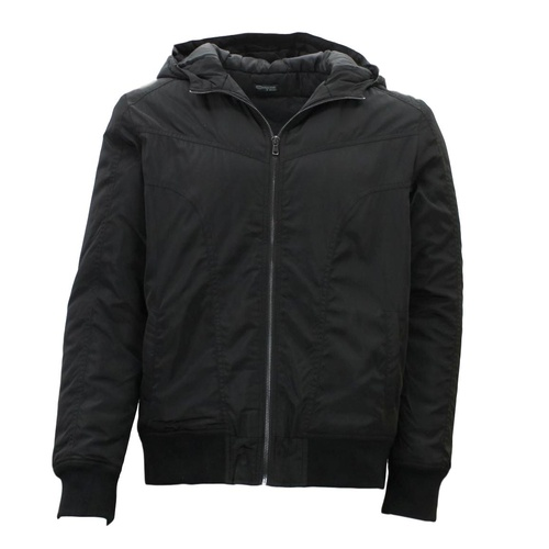 Ozemocean Mens Windcheater Bomber Jacket Hooded Water Resistant Padded Hoodie [Size: S] [Colour: Black]