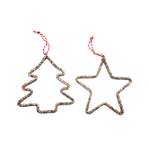 2x Christmas Tree Ornament Glitter Rainbow Star Xmas Hanging Décor